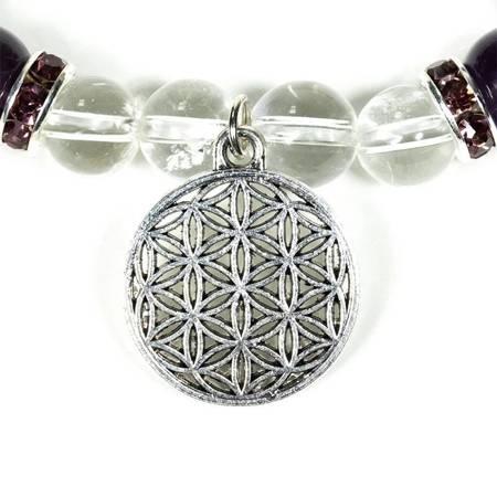 Armband aus Amethyst und Bergkristall mit Blume des Lebens
