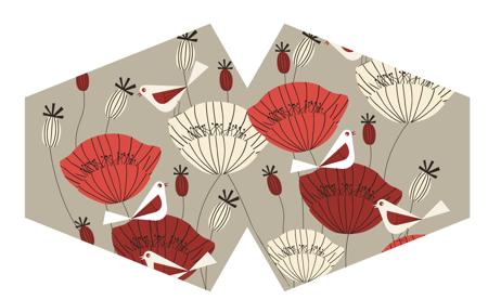 Modische Schutzmaske - Orientalische Mohnblumen
