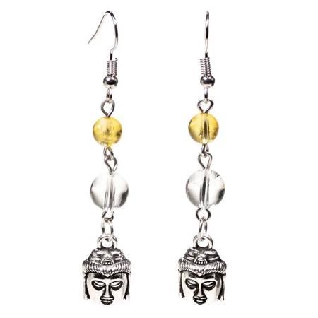 Ohrringe aus Citrin und Bergkristall mit Buddha