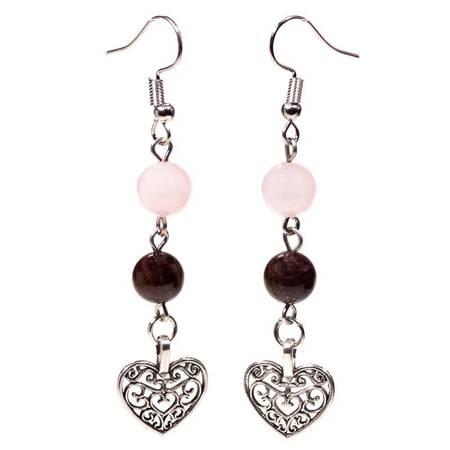 Ohrringe aus Granat und Rosenquarz mit Herz