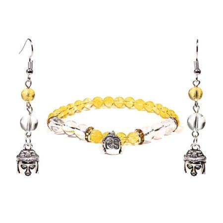 Schmuckset Armband und Ohrringe Citrin und Bergkristall mit Buddha