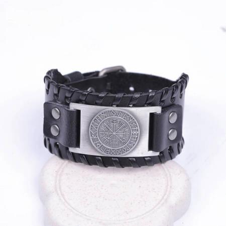 Schwarzes Lederarmband - Antike Silver